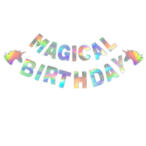 Happyyami Faixa HAPPY BIRTHDAY de unicórnio, festa de aniversário, artigos de festa