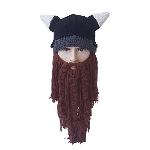 BeSTOYARD Gorro de tricô para outono e inverno Vikings de barba, longo, chapéu de chifre de boi, chapéu engraçado, gorro quente, máscara de festa, cosplay presente de aniversário (marrom)