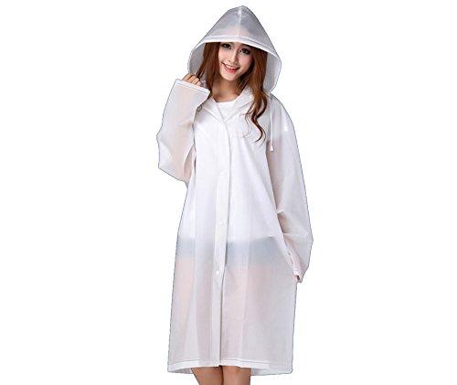 ZumZup – Capa de chuva unissex de EVA com capuz, translúcida, colorida, fosca, dobrável, impermeável, para chuva, neve, vários, Branco, US S (Asian M)
