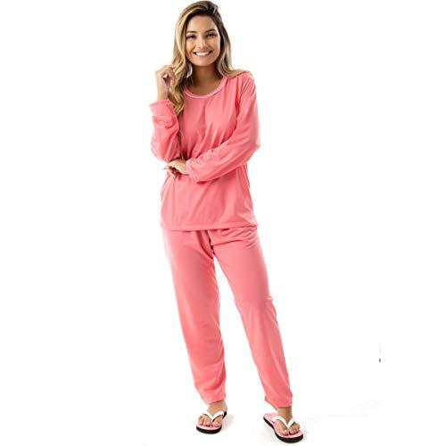 Pijama Confort Longo em Malha Suave Lisa | 177 Cor:Laranja;Tamanho:P