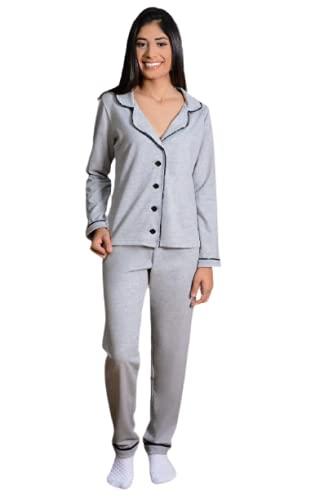 Pijama Americano Aberto Adulto Feminino Longo Outono Inverno Moletinho Luxo (P, MESCLA CINZA-ESCURO)
