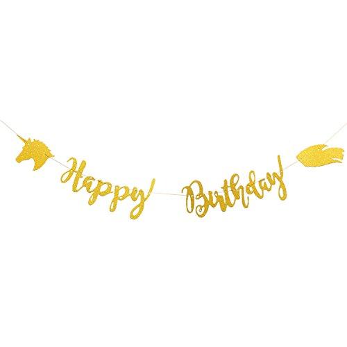 3M Faixa decorativa de unicórnio para festa de aniversário (dourada) para festas de aniversário