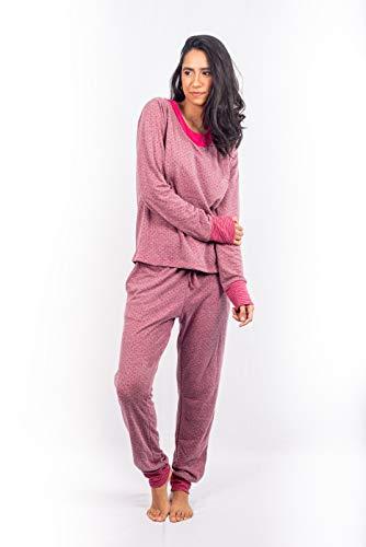 Pijama Adulto Feminino Longo Outono Inverno Algodão Poá (P, AZUL-MARINHO)