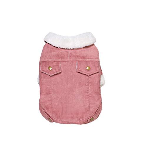 Casaco de cachorro à prova de vento engrossado para clima frio berbere lã quente jaqueta de cachorro roupas de inverno para cães pequenos, médios grandes, tamanho M (rosa)- de Animal de Estimação