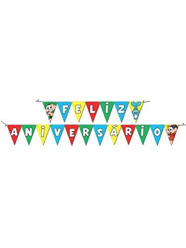 Faixa Feliz Aniversário Turma da Monica, Festcolor 104077, Vermelho/Amarelo, Festcolor, 104077, Vermelho/Amarelo