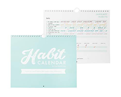 Calendário de rastreamento de hábitos e agenda de listas, rastreador de hábitos em espiral com objetivos graváveis, 12 meses desatualizado, 20,32 x 25,4 cm
