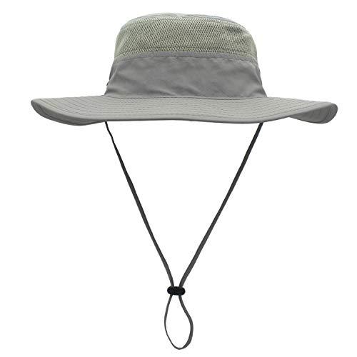 Chapéu de sol Duakrs unissex de aba larga, para uso ao ar livre, com FPS 50+ à prova d 'água, chapéu Boonie de pesca, proteção UV para o verão, Light Gray, Large