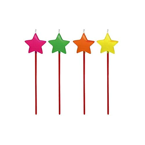 Vela de Aniversário Festa Estrela Cores Neon - 04 unidades