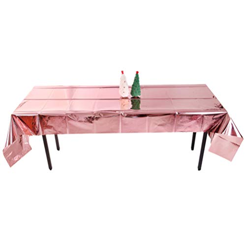 Toyvian 1 toalha de mesa de Natal para piquenique retangular brilhante toalha de mesa cortina decorativa para festas de aniversário (ouro rosa)