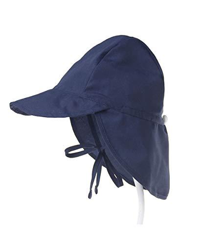 UPF 50+ Chapéu de sol para crianças, bebês, meninos e meninas infantis - Chapéu de natação de praia - Balde de proteção UV Tampa de verão com aba de pescoço (azul-marinho, 44-48 cm / 6-18 Months)
