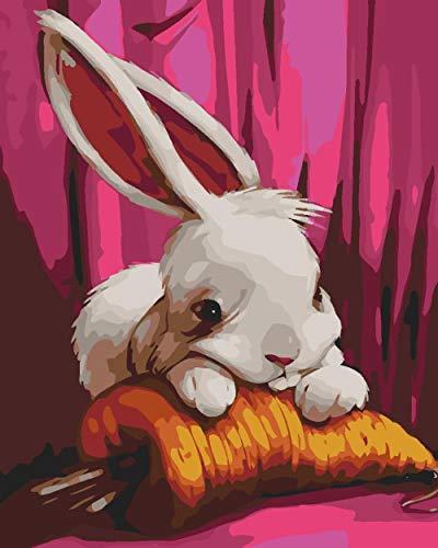 Kits de pintura por números, coelhinho comendo cenoura para adultos, crianças, iniciantes, kits de pintura a óleo em tela por números para decoração de casa 40 x 50 cm (sem moldura)