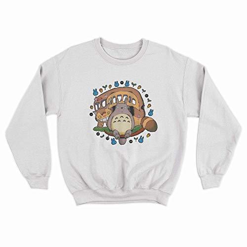 Moletom Gola Redonda Unissex Algodão Meu Amigo Totoro Ghibli Anime (Branco, G)