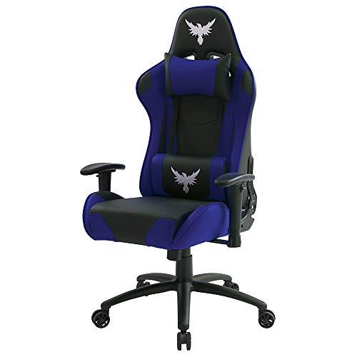 Cadeira Gamer Raven X-20 Estrutura de Metal, braço 2d Encosto reclinável até 180 Graus Preta/Azul - Flexinter