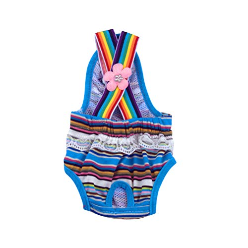 Popetpop fralda feminina para cachorro lavável com calor para cães, roupa íntima higiênica para animais de estimação, roupa íntima menstrual fisiológica tamanho GG azul