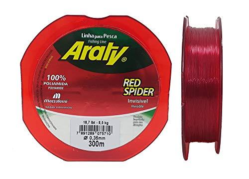 Linha para Pesca Araty Red Spider Invisível Vermelha 0,35mm 300m 18,7lb