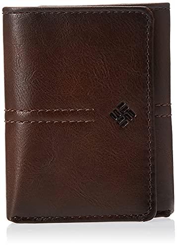 Columbia Carteira masculina de couro legítimo RFID com janela para identidade, bolsos para cartão de crédito, Marrom em relevo, tamanho nico