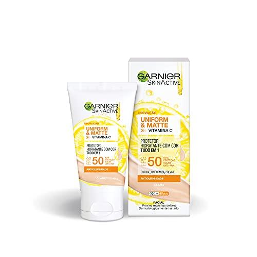 Protetor Hidratante Facial Garnier Uniform & Matte Vitamina C FPS 50 Cor Clara, 40g