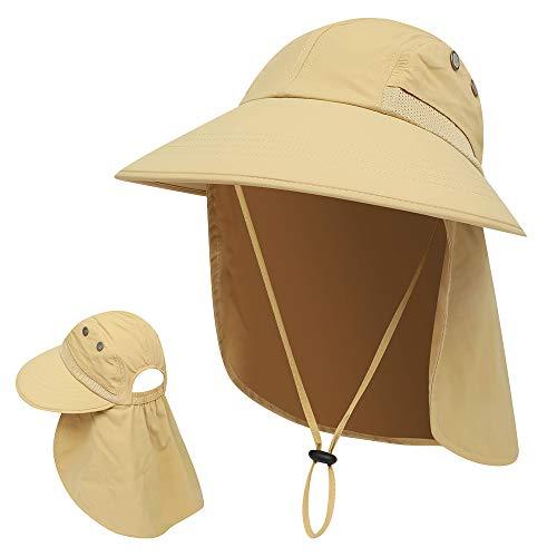 KKmoon Chapéu de sol Proteção UV Boné de verão de aba larga para camping, pesca, caminhadas, safári, montanhismo