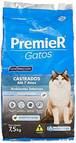 Ração Premier Ambientes Internos para Gatos Adultos Castrados até 7 Anos Sabor Frango - 7,5kg