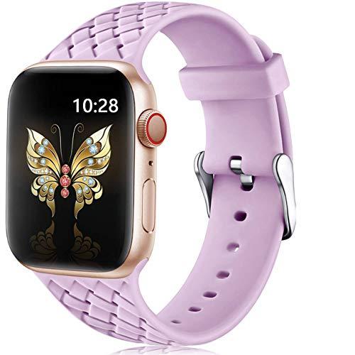 Pulseira para Apple Watch 44mm 42mm Silicone Modelo Woven (Lilás)