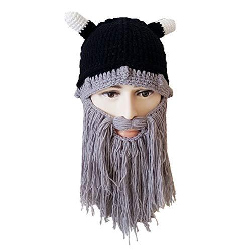 Gorro Vikings Engraçado da FENICAL com Barba Longa, Chapéu de Ox feito à mão Chapéu de Inverno Touca Quente para Festa Cosplay Presente de Aniversário (Cinza)