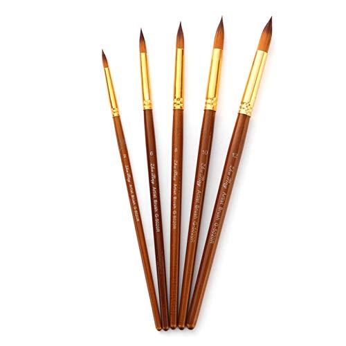Kit de pincéis de pintura Aibecy, pincéis redondos de ponta pontiaguda com cerdas de nylon para pintura a óleo, para aquarela, óleo acrílico, arte de unhas, de rosto, detalhes em miniatura e pintura de rocha