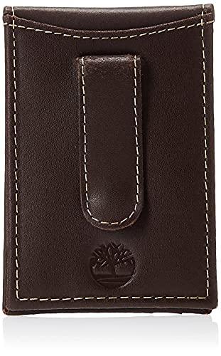 Carteira masculina Timberland minimalista com bolso frontal fina e clipe para dinheiro, Dark Brown, One Size