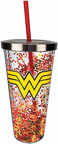 Spoontiques Copo com glitter com logotipo da Mulher Maravilha com canudo, tamanho único, vermelho e dourado