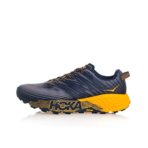 Hoka One One One tênis masculino Speedgoat 4 têxteis sintéticos, Black Iris Bright Marigold, 10
