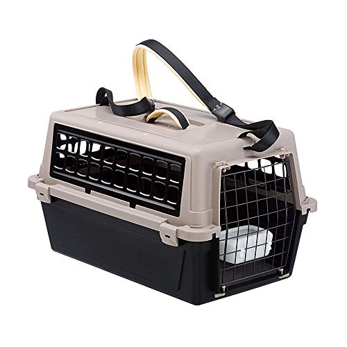 Ferplast Atlas 10 Trendy Plus, Caixa de Transporte Para Animais Pequenos, Preta, com Alça Para Ombro Ferplast para Cães, Capacidade 5kg, Preto