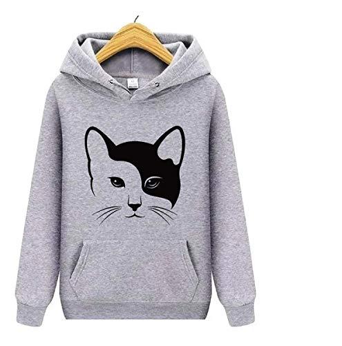 Blusa Moletom Feminina Canguru Gato Cat Animais Love Estampa (P, Cinza)