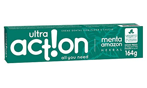 Creme Dental, Menta Amazon, 164 g, Ultra Action, Branco