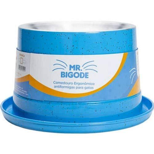 Comedouro Ergonômico NF Pet Para Gatos Mr. Bigode Antiformigas Azul Médio