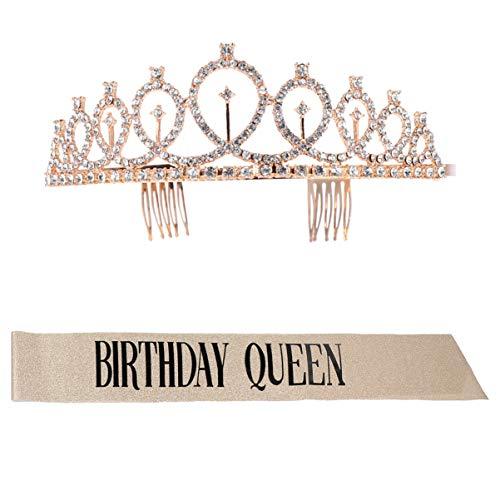 Lurrose Conjunto de 2 peças de tiara e faixa de aniversário para mulheres, faixa de aniversário com estampa de letras, kit de tiara de strass para lembrancinhas de festa de aniversário (dourado)