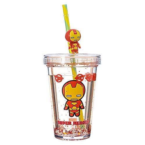 Garrafa de água com canudo, Homem de Ferro/Iron Man 320ml. Série Marvel. Cor transparente/laranja