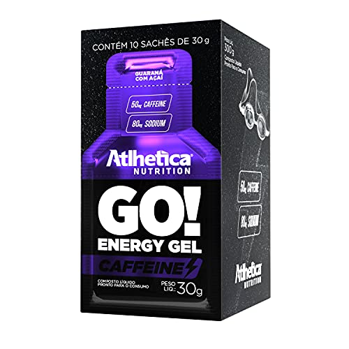 Go Energy Gel Caffeine 10 Sachês (30G Cada) - Sabor Guaraná e Açai, Atlhetica Nutrition