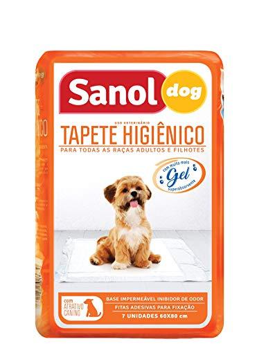 Tapete higiênico, Sanol Dog, 7 unid, Branco, Tamanho total 60cm X 80cm