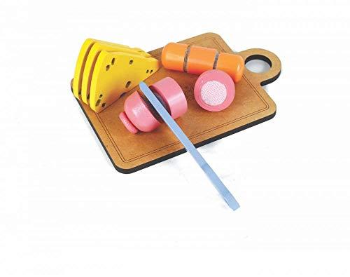 Coleção Comidinhas - Kit Frios Com Corte - NewArt - Brinquedo De Madeira