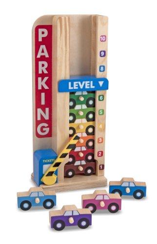 Melissa & Doug - Stack & Count Brinquedo Garagem de Madeira, 3+ Anos, Multicolorido, 5182