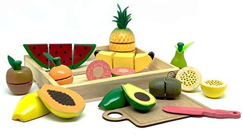 Coleção Comidinhas Kit Frutas com Corte Brinquedo de Madeira - New Art
