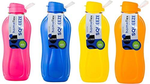 Garrafa Squeeze 2 litros Plástico sólida Cores (Rosa)