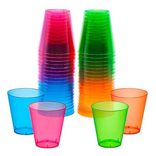 Party Essentials Copos de plástico rígido de 59 ml, 40 unidades, neon sortido