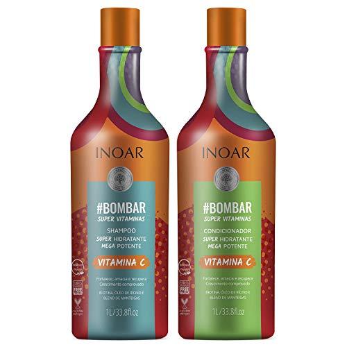 Inoar Kit Shampoo e Condicionador #Bombar Crescimento Capilar 1L, Pack of 2