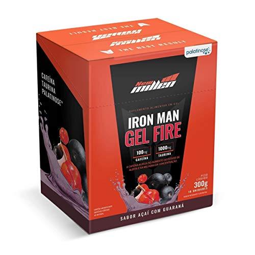Iron Man Gel Fire - Caixa 10 Sachês 30G Açaí com Guaraná - New Millen