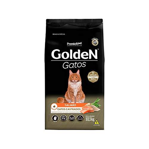 Ração Golden para Gatos Adultos Castrados Sabor Salmão - 10,1kg Premier Pet para Todas Todos os tamanhos de raça Adulto -