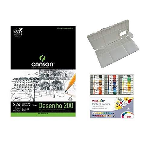 Kit Papel Canson Desenho + Aquarela Pentel Tubo 24 cores + Gode Sinoart