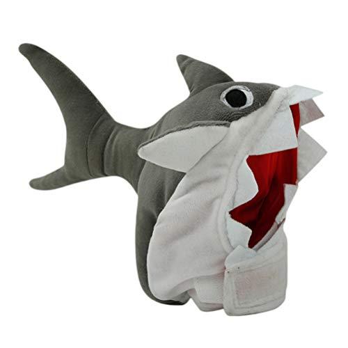 Fantasia de cachorro de estimação da POPETPOP, chapéu de tubarão com desenho fofo, chapéu de cabeça de pelúcia, chapéu de animal de estimação, fantasia de Halloween para cães pequenos, médios e grandes – tamanho pequeno (cinza)