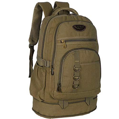 mochila de lona masculina camping resistente pesca viagem 50 litros grande (Caramelo)
