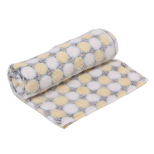 Kocome Cobertor para animal de estimação, cachorro, filhote, gatinho, cama de gato fofo, tapete de flanela macio quente (amarelo)