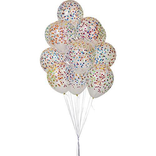 Balao Decorado N.10 Confete Clear C/Sortido - Pacote com 25, Riberball, 200, Multicor
